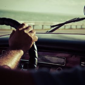 from inside an old car