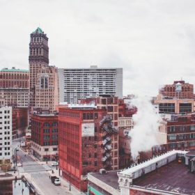 "City skyline - imagery for ""The Only Tear in Detroit"" by Lyndi Bell O'Laughlin"