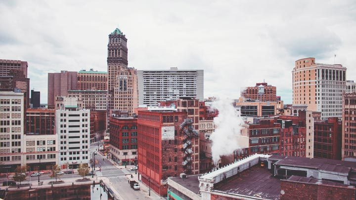 """City skyline - imagery for """"The Only Tear in Detroit"""" by Lyndi Bell O'Laughlin"""