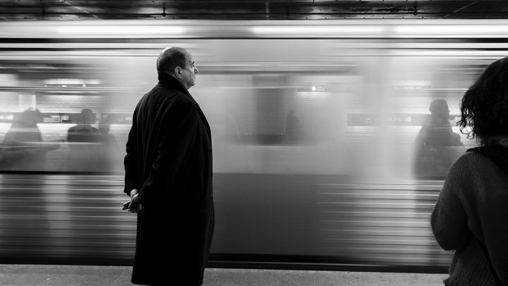 """Train by platform, image for """"Commuter, 1993""""by Kyle Potvin"""