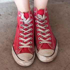 feet in red sneakers - image for Jumpcuteye by Mark A. McCutcheon