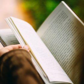 leafing thru a book